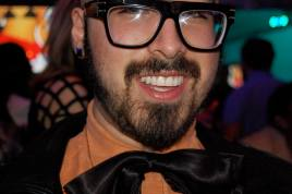 Another new friend, designer Curly V. His bow tie rivals Alber Elbaz.